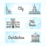 Set of banners with buildings Royalty Free Stock Photo