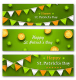 Set Banners with Bunting Hanging Pennants Royalty Free Stock Photography