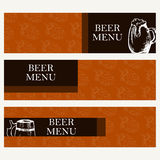 Set of banners for business. Beer menu. Restaurant theme. Vector Royalty Free Stock Images