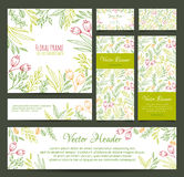 Set of banners, business card, frame, invitations Royalty Free Stock Images