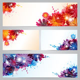 Set of banners and business cards with flowers and Royalty Free Stock Photography