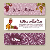 Set of banners for business. Wine menu. Restaurant theme. Vector illustration. Stock Image