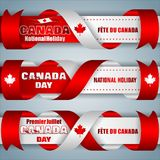 Set of banners for Canada day, celebration. Set of web banners with texts, maple leaf and national flag colors for first of July, Canada day, celebration; Vector Royalty Free Stock Photo