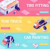 Set of Banners for Car Maintenance and Evacuation. Layouts with Isometric Garage Building, Tow Truck, Painting Car and Working Masters. Tire Fitting stock illustration