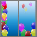 Set of banners or cards with  colored balloons. Stock Photo