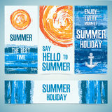 A set of banners, cards, headers for the summer Stock Photo