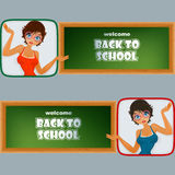 Set of banners with cartoon girl character and blackboard Stock Photography