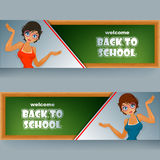 Set of banners with cartoon girl character in front of blackboard Royalty Free Stock Photo
