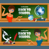 Set of banners with cartoon girl character in front of blackboard with Earth globe and microscope Stock Photography