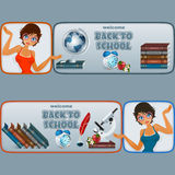 Set of banners with cartoon girl character and  school books Stock Photos
