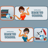 Set of banners with cartoon girl character, school books and microscope Stock Images