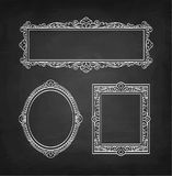 Chalk sketch of vintage frames. Set of banners. Chalk sketch of vintage frames on blackboard background. Hand drawn vector illustration. Retro style Royalty Free Stock Images