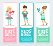 Set of banners with cheerful teens holding books in hands. Young boy and girls learning and studying. School flat vector. Set of banners with cheerful teens Stock Photo