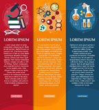 Set of banners chemistry and Physics design elements, symbols, icons. Vector royalty free illustration