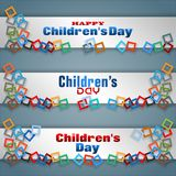 Set of banners for Children`s day celebration. Set of banners, background with texts and colorful squares that throw light shadows for first of June, Children`s Stock Image