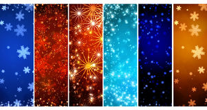 Set of banners with Christmas background with snowflakes Stock Images