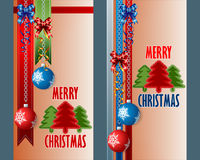 Set of banners with Christmas balls hanging from silver chains. Holidays, abstract design web banner, header; Set of vertical banners with ornamental Christmas Stock Image