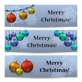 Set of banners with christmas tree toys and text. Marry christmas Vector illustration Stock Photo