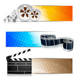 Set of banners with cinema element. Set of color banners with cinema element Stock Photos