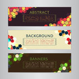 Set banners collection with abstract polygonal mosaic backgrounds. Geometric Hexagons patterns, vector illustration. Stock Photos