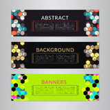 Set banners collection with abstract polygonal mosaic backgrounds. Geometric Hexagons patterns, vector illustration. Royalty Free Stock Image