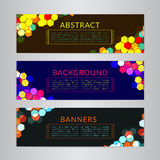 Set banners collection with abstract polygonal mosaic backgrounds. Geometric Hexagons patterns, vector illustration. Stock Images