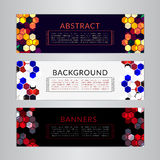 Set banners collection with abstract polygonal mosaic backgrounds. Geometric Hexagons patterns, vector illustration. Stock Photo