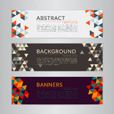Set banners collection with abstract soft color polygonal mosaic backgrounds. Stock Photos