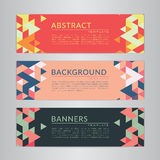 Set banners collection with abstract soft color polygonal mosaic backgrounds. Royalty Free Stock Images