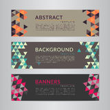 Set banners collection with abstract soft color polygonal mosaic backgrounds. Geometric triangular patterns, vector illustration. Royalty Free Stock Photos