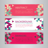 Set banners collection with abstract soft color polygonal mosaic backgrounds. Geometric triangular patterns, vector illustration. Stock Photo