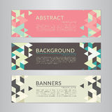 Set banners collection with abstract soft color polygonal mosaic backgrounds. Geometric triangular patterns, vector illustration. Royalty Free Stock Image