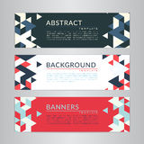Set banners collection with abstract soft color polygonal mosaic backgrounds. Geometric triangular patterns, vector illustration. Royalty Free Stock Photography