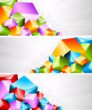 Set of banners with coloful cubes Stock Photography