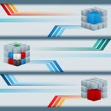 Set of banners with colorful cubes and space for text Stock Photography