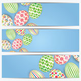 Set of banners with colorful Easter eggs Royalty Free Stock Photos