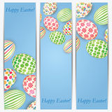 Set of banners with colorful Easter eggs Stock Image
