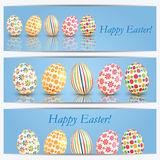 Set of banners with colorful Easter eggs Stock Photos