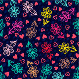 Set of banners Colorful floral seamless pattern Stock Images