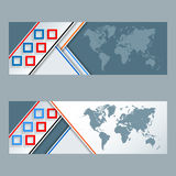 Set of banners with colorful, squares mosaic and World map Stock Photos