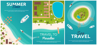 Set of banners Colorful Travel to Paradise. Tropical beach. Best cruise. Vector flat banner for your business. Royalty Free Stock Images