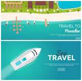 Set of banners Colorful Travel to Paradise. Tropical beach. Best cruise. Vector flat banner for your business. Stock Image