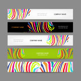 Set of banners, colorful zebra print design Royalty Free Stock Photo