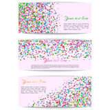 Set of banners with confetti Royalty Free Stock Photo