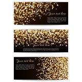 Set banners with confetti stars. Set of holiday banners with golden confetti stars on a dark background Stock Images