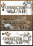 Set of banners with a connector USB. stock illustration