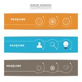 Set of banners with contour elements eps Stock Photography