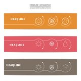 Set of banners with contour elements eps Stock Images
