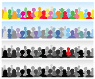 Set of banners with a crowd. Set of banners with a colorful crowd Royalty Free Stock Photos