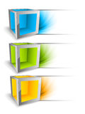 Set of banners with cubes Royalty Free Stock Images